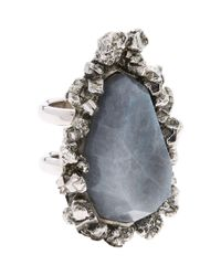 Alexander McQueen - Metallic Double-band Stone Ring - Lyst
