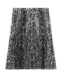 Burberry Black Pleated Leopard Print Skirt