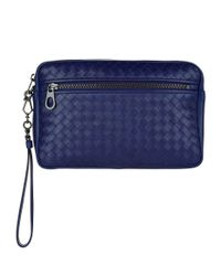 Bottega Veneta Blue Leather Intrecciato Pouch for men