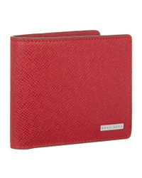 BOSS Red Leather Saffiano Bifold Wallet for men
