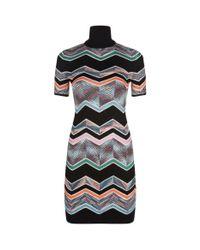 Missoni - Black High Neck Zig Zag Print Dress - Lyst