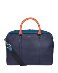 Paul Smith Blue Leather Briefcase for men