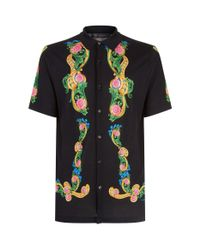Versace Black Floral Knitted Polo Top for men