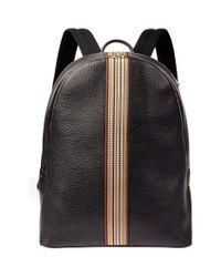 Paul Smith - Black Stripe Leather Backpack for Men - Lyst