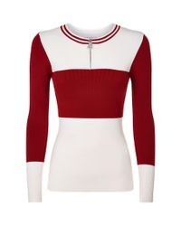Sandro Natural Colour-block Zip Down Sweater