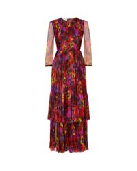 Gucci Red Violet Print Pleated Gown