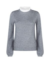 Joie - Gray Frilly High Neck Sweater - Lyst