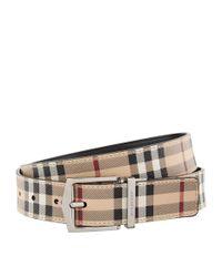 Burberry Black Leather Haymarket Check Belt