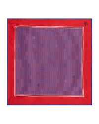 Canali Red Mosaic Silk Pocket Square for men