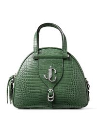 Jimmy Choo Green Small Croc-embossed Varenne Bowling Bag