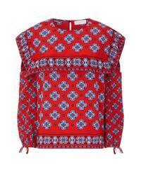 Sandro Red Geometric Print Cold-shoulder Blouse