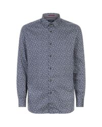 Ted Baker Blue Lysee Paisley Shirt, Navy, 2 for men