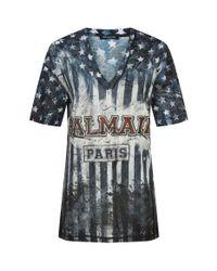 Balmain Blue Distressed Slogan Print T-shirt