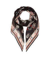 Alexander McQueen - Black Floral Skull Silk Scarf - Lyst