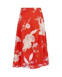 Alice + Olivia Red Nanette Floral Wrap Skirt
