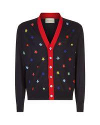Gucci Blue Slim-fit Intarsia Wool Cardigan for men