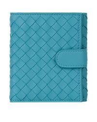 Bottega Veneta Blue Mini Leather Intrecciato Wallet