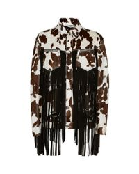DSquared² - Brown Leather Fringed Jacket - Lyst