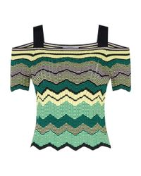Sandro Yellow Cold-shoulder Zig Zag Knit Top