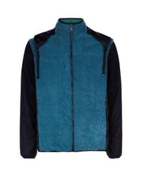 Lanvin Green Zip Up Shearling Hoodie for men