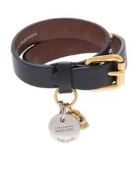Alexander McQueen - Black Embellished Double Wrap Bracelet - Lyst