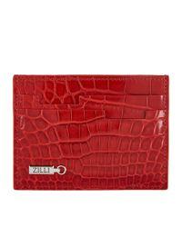 Zilli - Red Patent Crocodile Cardholder - Lyst