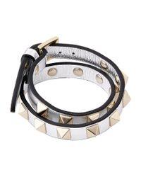 Valentino - Metallic Leather Rockstud Double-wrap Bracelet - Lyst
