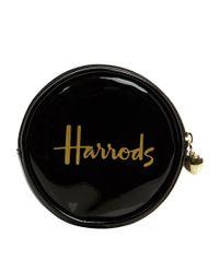 Harrods - Black Logo Round Coin Purse - Lyst