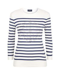 Polo Ralph Lauren - Blue Embellished Stripe Sweater - Lyst