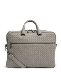 Bottega Veneta Gray Leather Intrecciato Briefcase for men