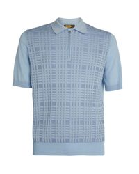 Zilli Blue Knit Polo Shirt for men
