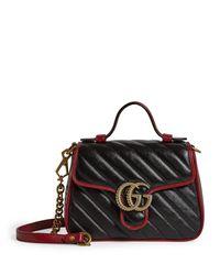 Gucci Black Mini Leather Marmont Matelass Shoulder Bag