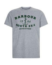 Barbour Gray Anchor Logo T-shirt for men