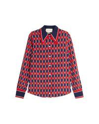 Gucci Blue Rhombus Print Shirt