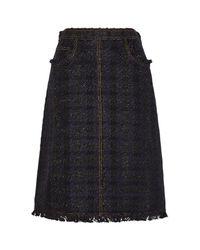 Tory Burch Blue Aria Navy Bouclé A-line Skirt