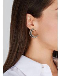 Soru Jewellery Metallic Notte Grey Crystal 18ct Gold-plated Moon Earrings