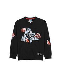 KENZO Black Embroidered Cotton-blend Sweatshirt for men