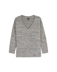 Eileen Fisher - Gray Grey Mélange Knitted Jumper - Lyst