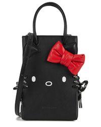 Balenciaga Hello Kitty Black Leather Cross-body Phone Case