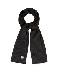 Moncler Gray Charcoal Ribbed Wool Scarf for men