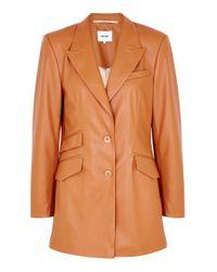 Nanushka Cancun Burnt Orange Faux Leather Blazer