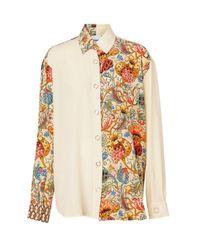 Burberry Multicolor Floral Print Panel Silk Oversized Shirt