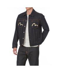 Evisu Blue Denim Jacket With Daicock And Logo for men