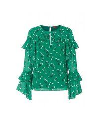 2857161bc610e7 Kitri Blake Floral Print Blouse in Green - Lyst