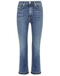 Rag & Bone Blue Hana Cropped Bootcut Jeans
