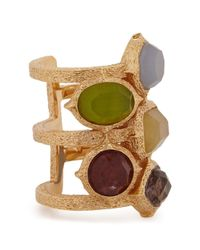 Isharya - Multicolor Abstract Mughal Gold-plated Ring - Lyst