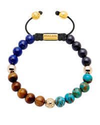 Nialaya - Blue 14kt Gold Tiger Eye, Lapis And Turquoise Beaded Bracelet for Men - Lyst
