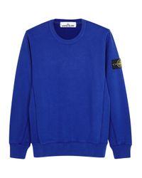Stone Island Royal Blue Brushed Cotton Sweatshirt for men