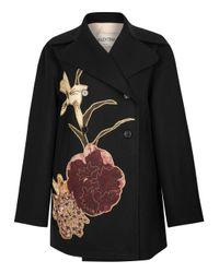 Valentino - Black Floral-appliquéd Wool Coat - Lyst