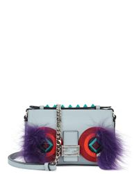 Fendi | Blue Micro Studded Leather, Snakeskin & Fox Fur Buggie Baguette | Lyst